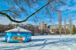 Wintertime in Marzili - View to Bundeshaus - Berne Winterscape i